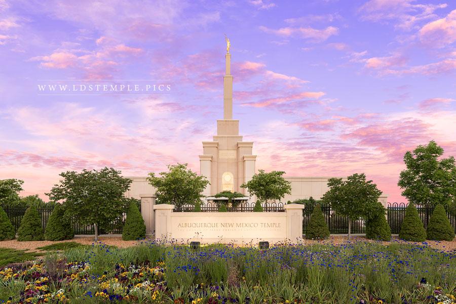 Albuquerque Temple Vibrant Sunrise Print