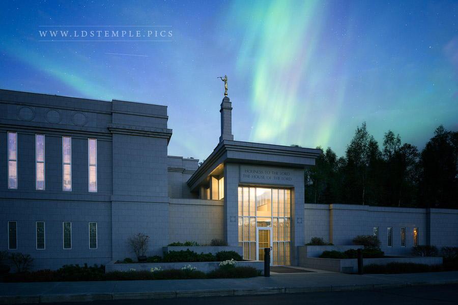 Anchorage Temple Aurora Borealis Print