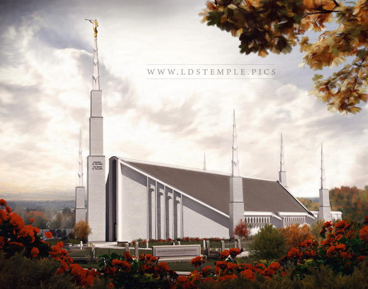 Boise Temple Fall Afternoon Painting Print