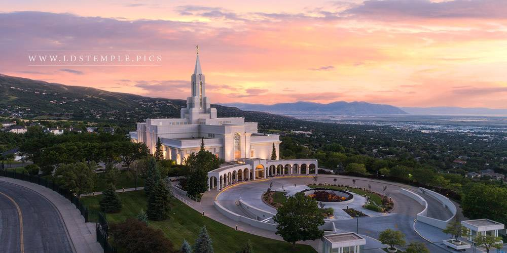 Bountiful Temple Greater Heights Sunset Print