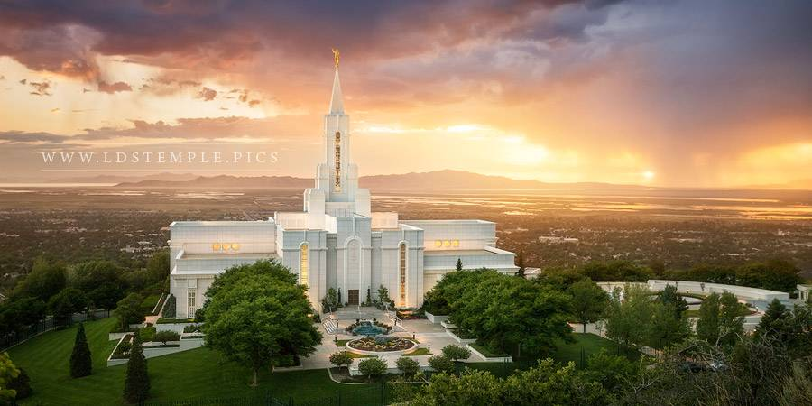 Bountiful Temple Sunset Over The Valley Panoramic Print