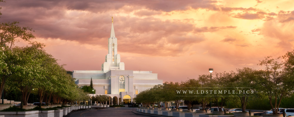 Bountiful Temple Sunset South Panoramic Print