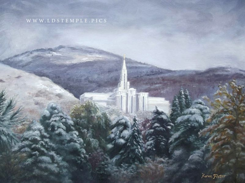 Bountiful Temple Winter Oil Painting Print