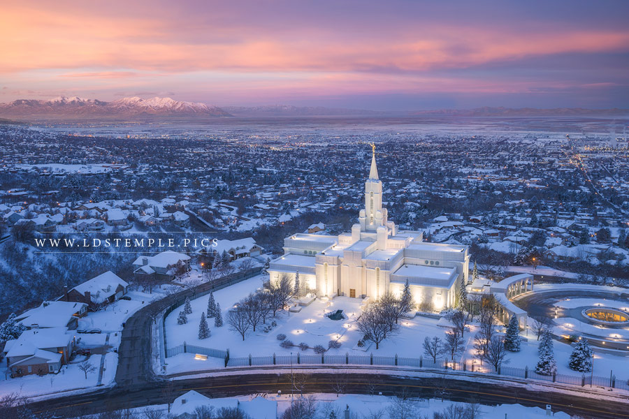 Bountiful Temple Winter Sunrise Over The Valley Print