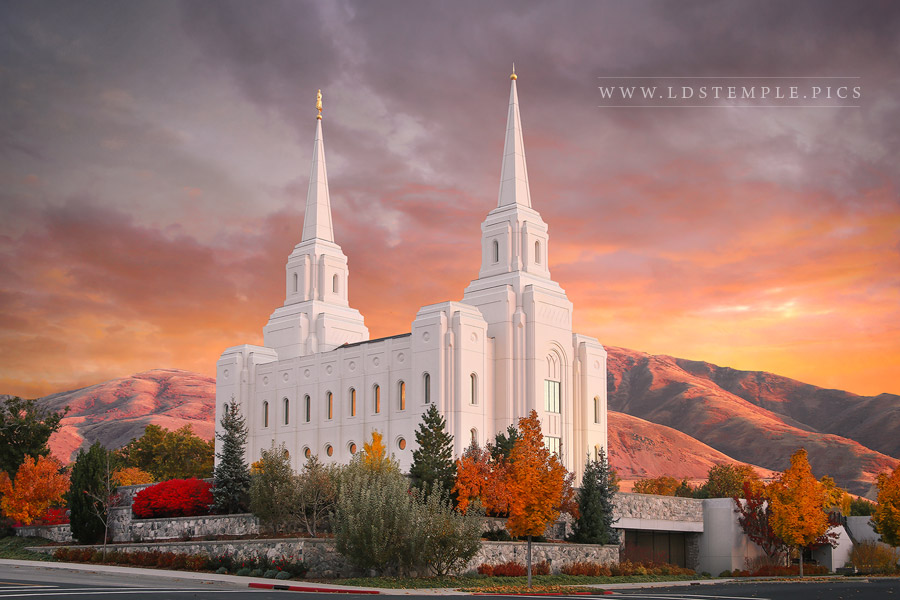 Brigham City Temple Fall Sunset Print