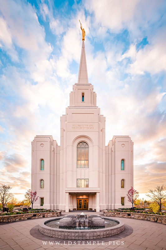 Brigham City Temple Fountain Sunset Print