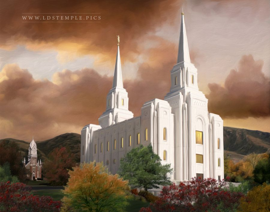 Brigham City Temple Autumn Sunset Painting Print