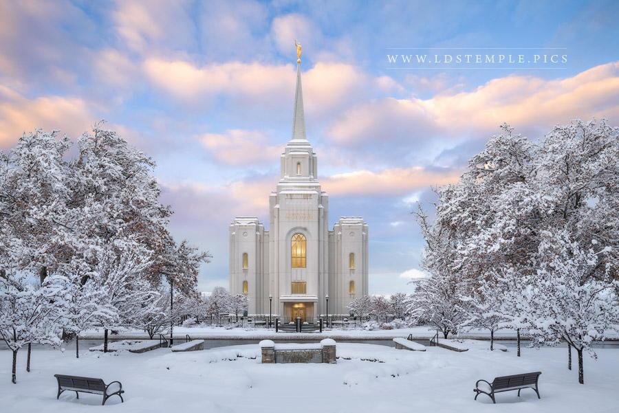 Brigham City Temple Snowy Sunrise Print