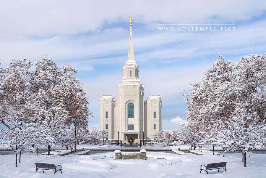 Brigham City Temple Winter Morning Print