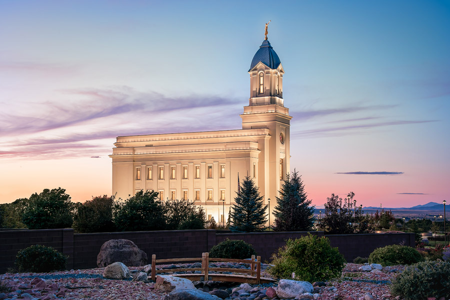 Cedar City Temple Bridge Sunset Print
