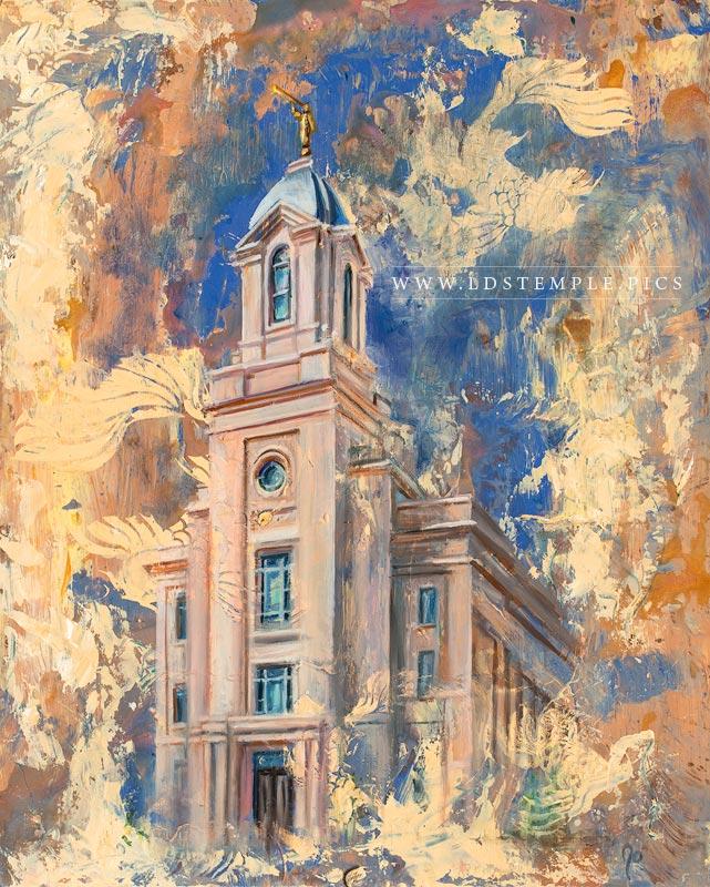 Cedar City Temple Cold Wax & Oil Painting Print