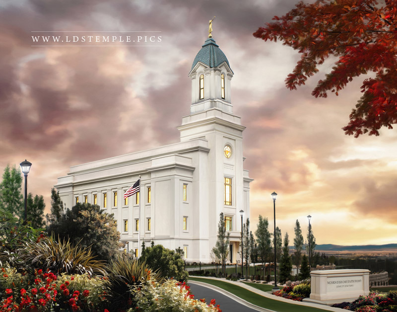Cedar City Temple Sunset Painting Print