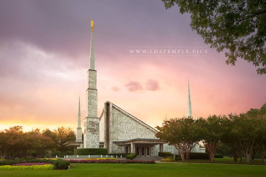 Dallas Temple Stormy Sunset Print