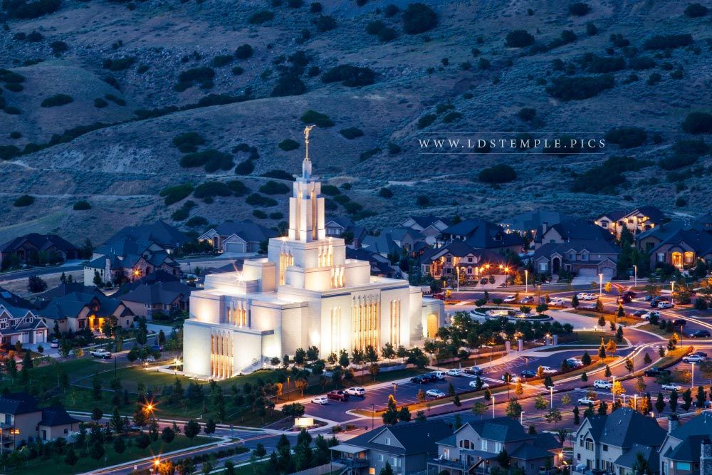 Draper Temple Evening From Above Lds Temple Pictures