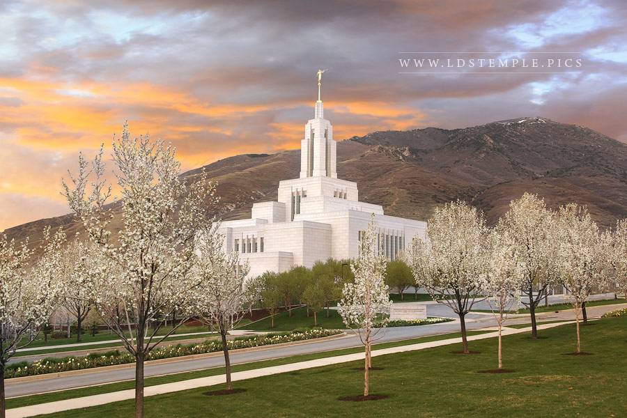 Draper Temple Spring Sunset Print