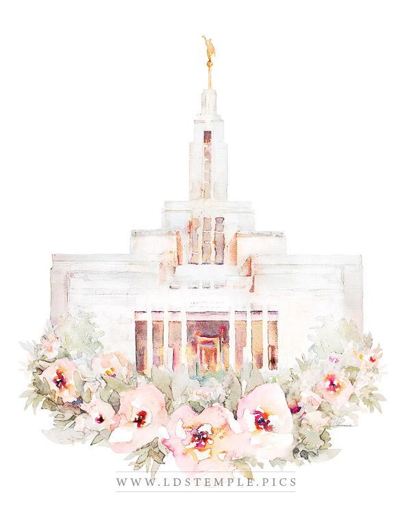 Draper Temple Floral Watercolor Painting Print