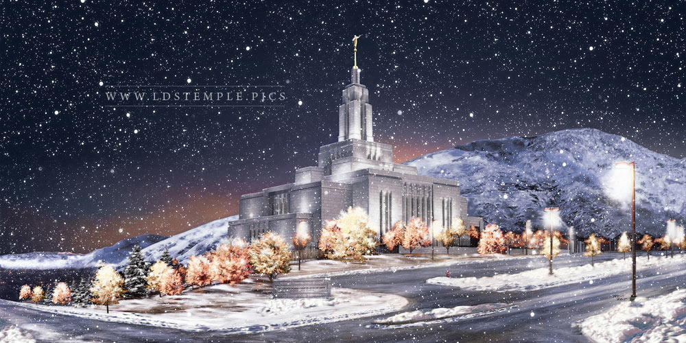 Draper Temple Winter Snow Painting Print