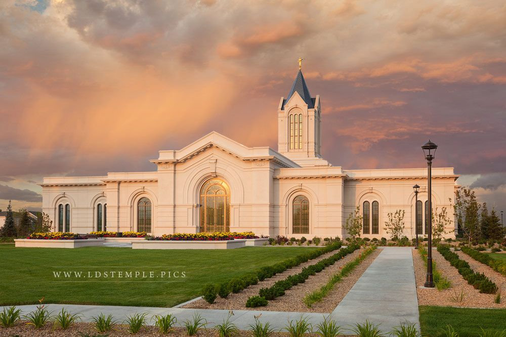 Fort Collins Temple Stormy Sunset - LDS Temple Pictures Real Snowflake