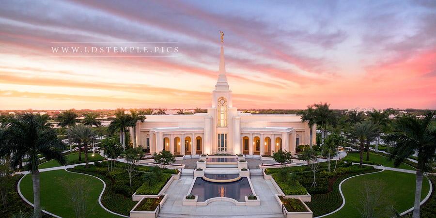 Fort Lauderdale Temple Aerial Evening Panoramic Print