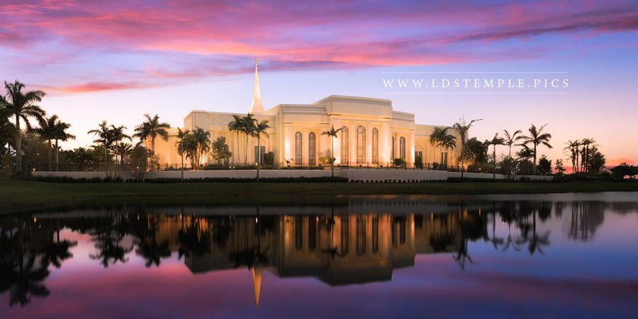 Fort Lauderdale Temple Pink Sunrise Reflection Panoramic Print