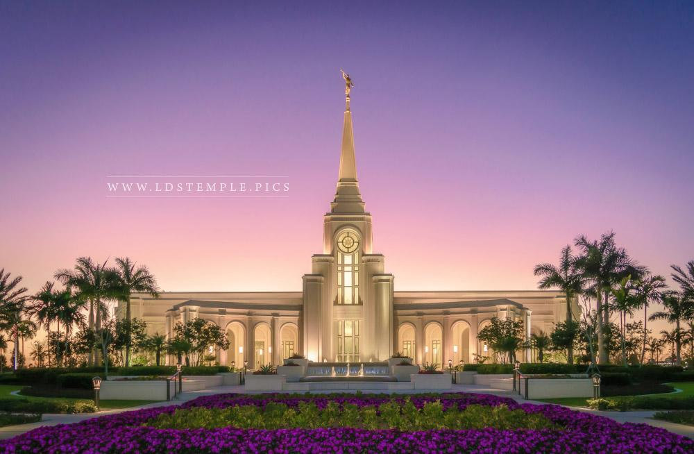 Fort Lauderdale Temple Sunset and Flowers Print