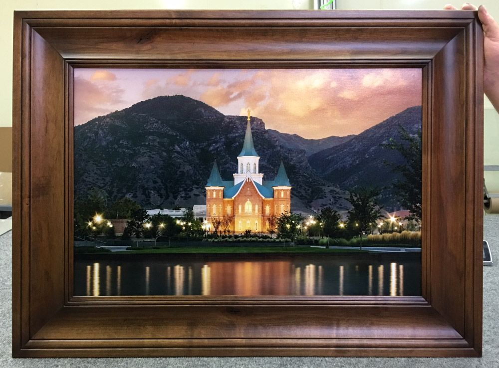 Framed Provo City Center Temple with Espresso Finish