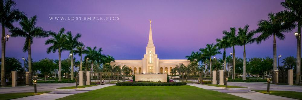 Fort Lauderdale Temple Entrance Twilight Panoramic Print