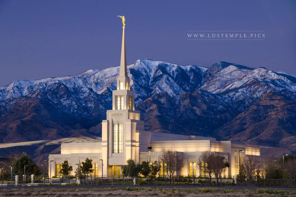Gila Valley Temple Dawn & Mt. Graham - LDS Temple Pictures Real Snowflake