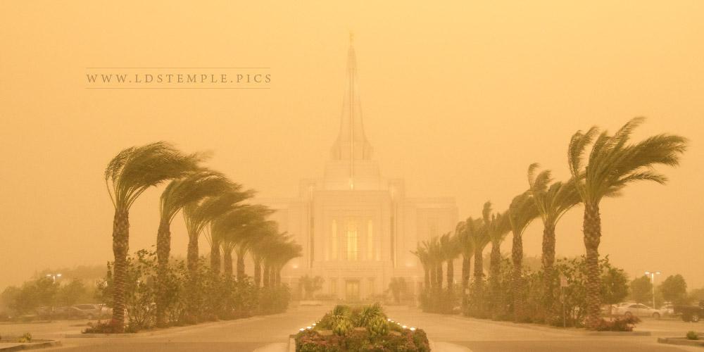 Gilbert Temple Dust Storm Panoramic Print