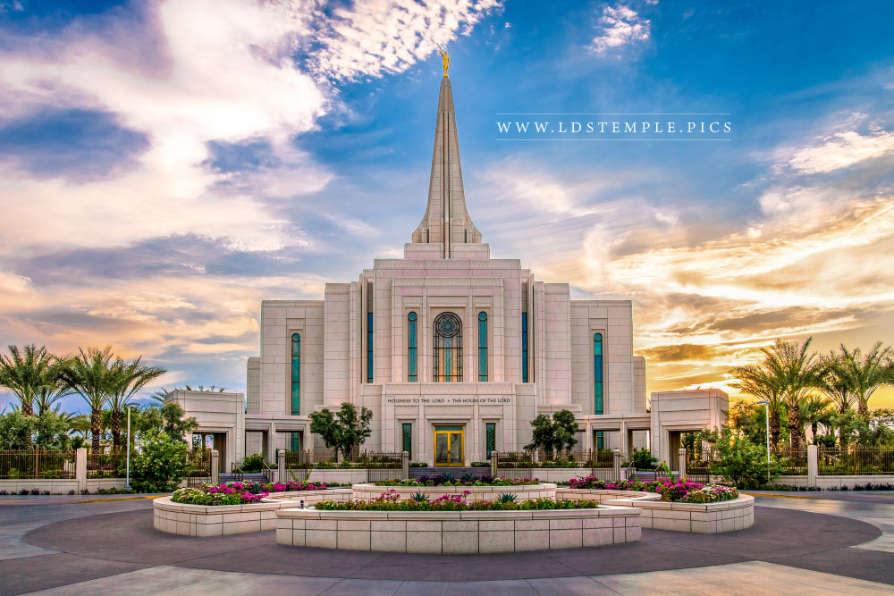 Gilbert Temple Entrance Sunset Print