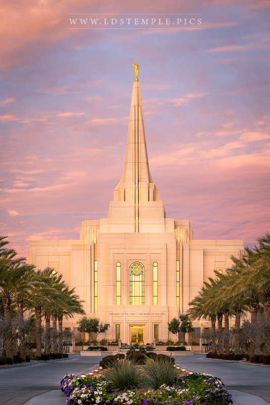 Gilbert Temple Front Entrance Sunrise Print