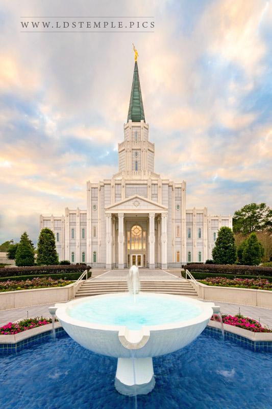 Houston Temple Fountain Sunset Print