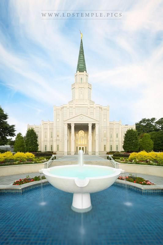 Houston Temple Morning Fountain Print
