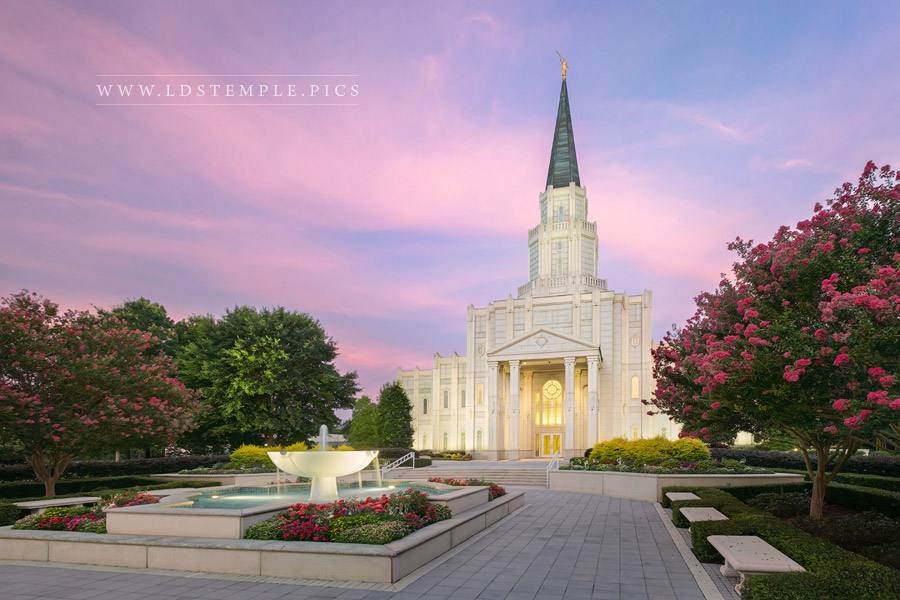 Houston Temple Pastel Sunrise Print