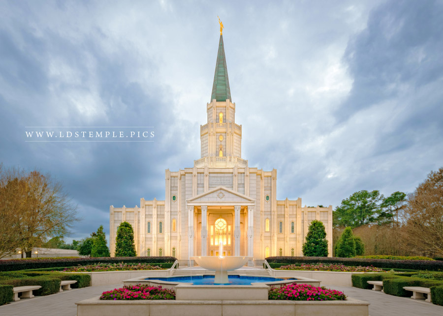 Houston Temple Stormy Evening Print