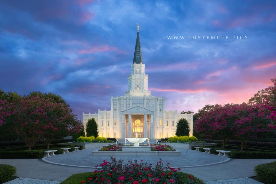Houston Temple Twilight Glow Print