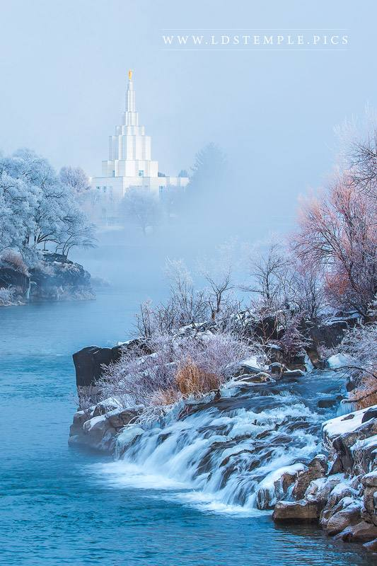 Idaho Falls Temple Breaking Through The Clouds Vertical Print