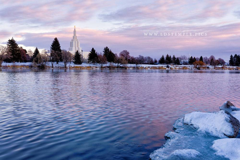 Idaho Falls Temple Winter Pastels Print