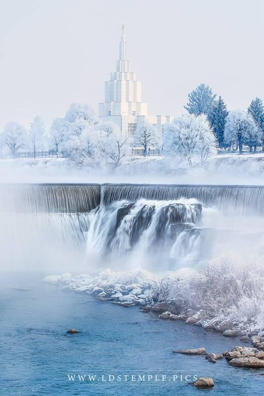 Idaho Falls Temple Winter Waterfalls Print