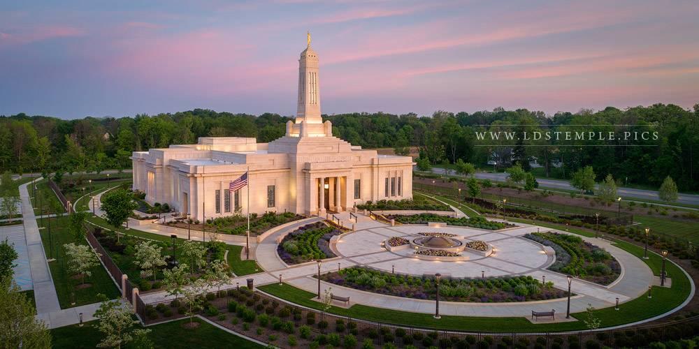 Indianapolis Temple Aerial Sunrise Print