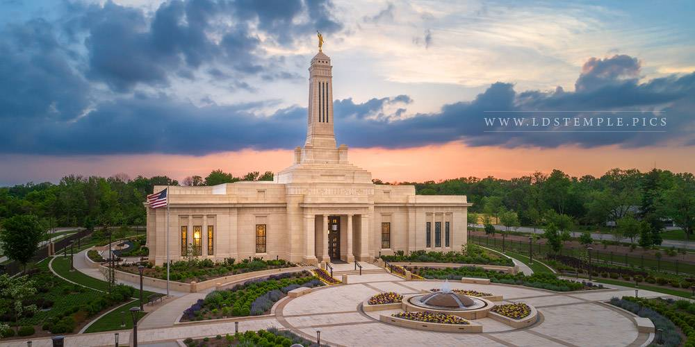 Indianapolis Temple Aerial Sunset Print