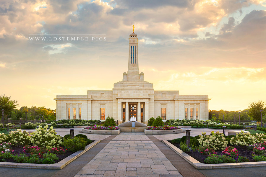 Indianapolis Temple Golden Sunset Print