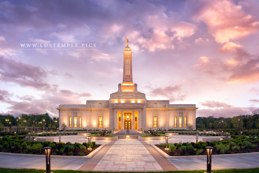 Indianapolis Temple Pastel Sunset Print