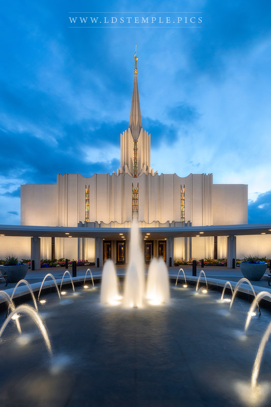 Jordan River Temple Fountain Twilight Print