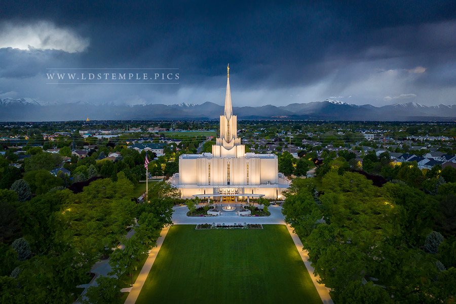 Jordan River Temple Front Entrance Aerial Print