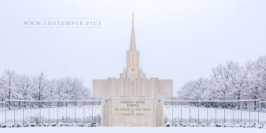 Jordan River Temple Snowy Entrance Print