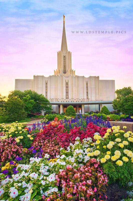 Jordan River Temple Sunset and Flowers Print