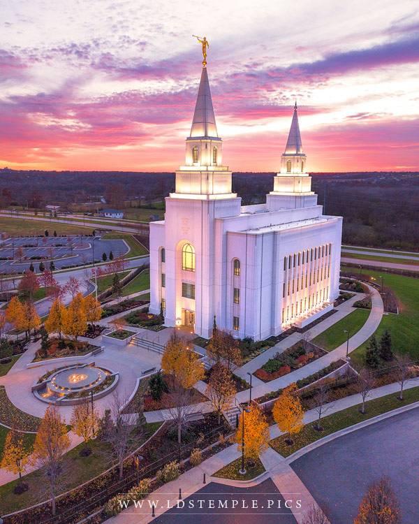 Kansas City Temple Autumn Sunset Aerial Print