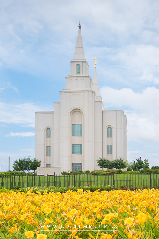 Kansas City Temple Blue and Gold Vertical Print