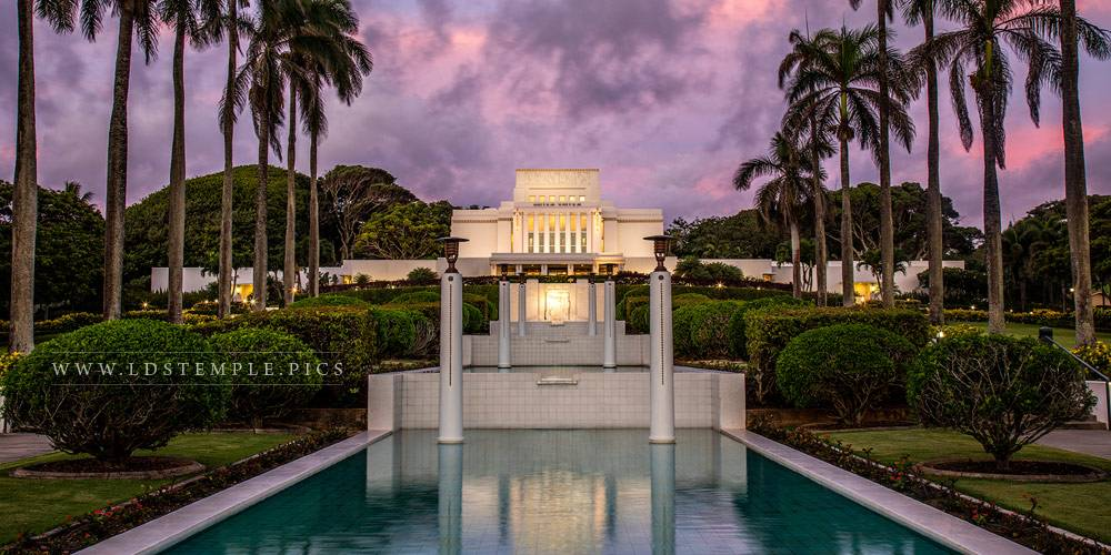 Laie Temple – Pastel Sunset